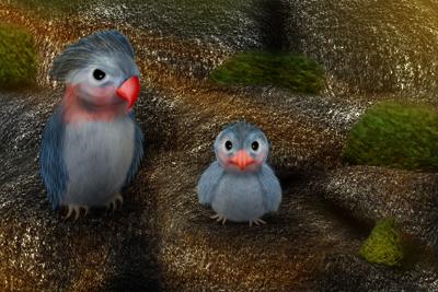 Vögel am Berg